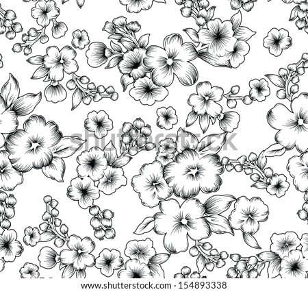 seamless vintage  beautiful black and white flower. - stock vector