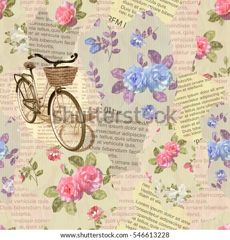 Seamless  vintage  bicycle torn newspaper background.