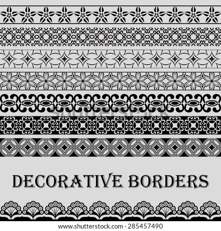 Seamless vintage black and white decorative vector border ornament. - stock vector