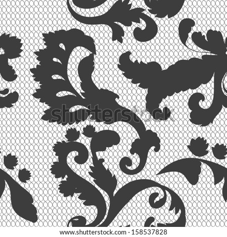 seamless vintage black lacy pattern - stock vector