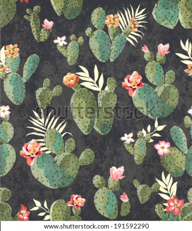 seamless vintage cactus print pattern background - stock vector