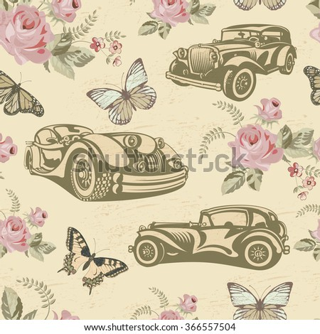 Seamless vintage car background. - stock vector
