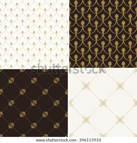 Seamless vintage floral background. Vector royal gold and black pattern. Oriental design and baroque wallpaper set - stock vector