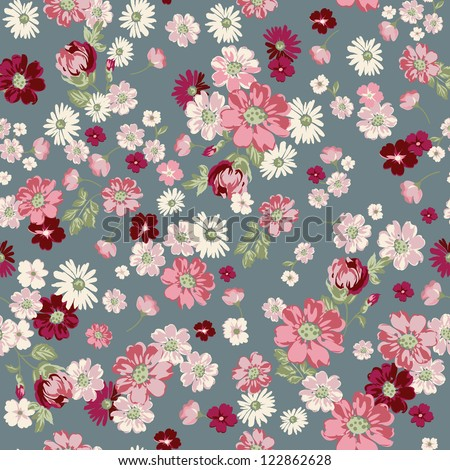 seamless vintage floral ditsy background - stock vector