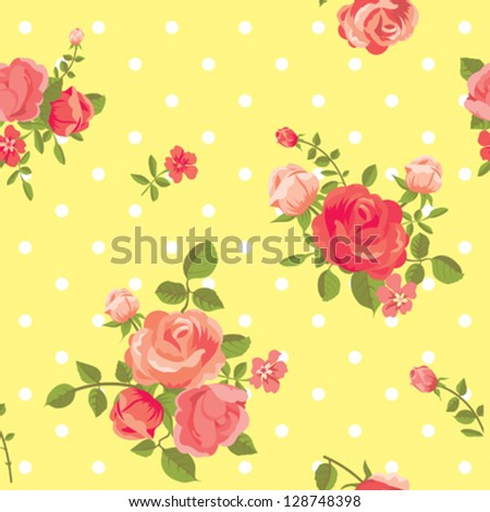 Seamless vintage floral rose pattern - stock vector