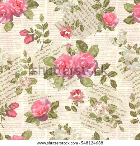 Seamless vintage floral torn newspaper background.