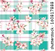 seamless vintage flower pattern on check background - stock vector