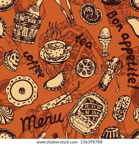 Seamless vintage food pattern on orange background in vector - stock vector