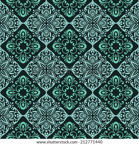 Seamless vintage green floral wallpaper vector pattern. - stock vector