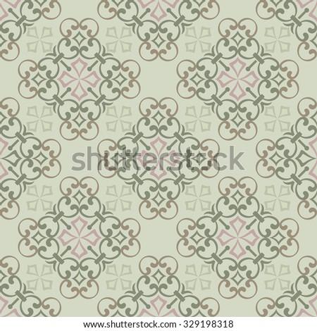 Seamless vintage green wallpaper vector pattern. - stock vector