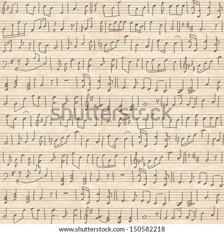 Seamless vintage grunge background with handwritten musical notes