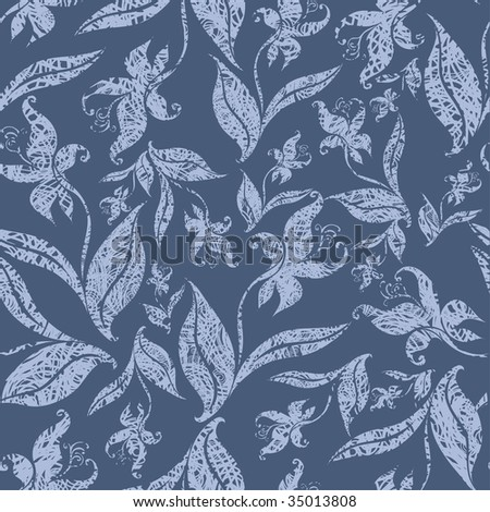 """Seamless vintage grunge floral pattern with orchid (From my big """"Seamless collection"""") - stock vector"""