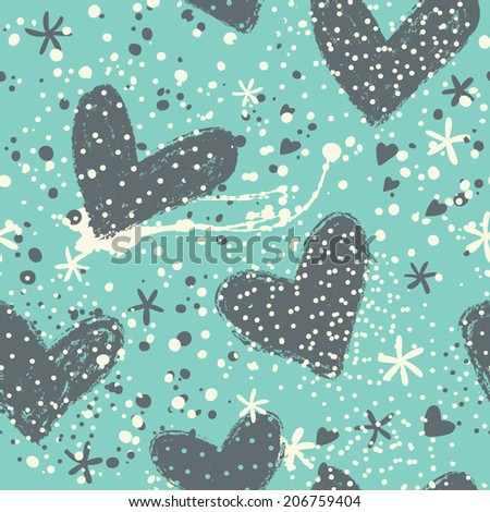 Seamless vintage heart background in pretty colors. Great for Baby, Valentine's Day, Mother's Day, wedding, scrapbook, surface textures.