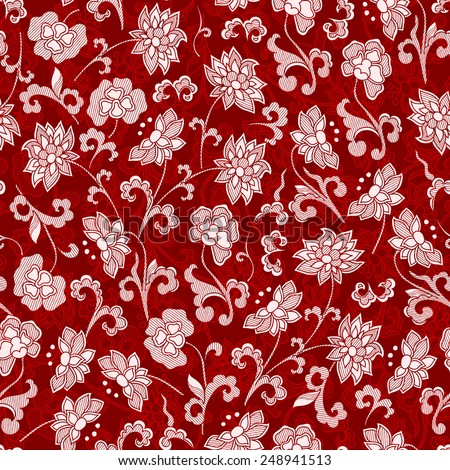 Seamless vintage japanese pattern with lily