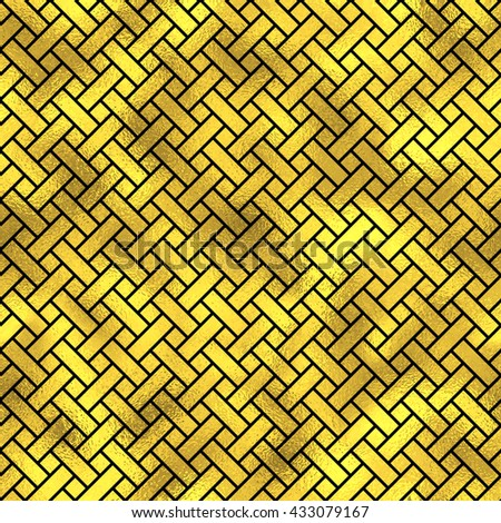Seamless vintage japanese style pattern. Golden vector textured fashion background