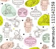 Seamless vintage kids toys background pattern in vector - stock photo