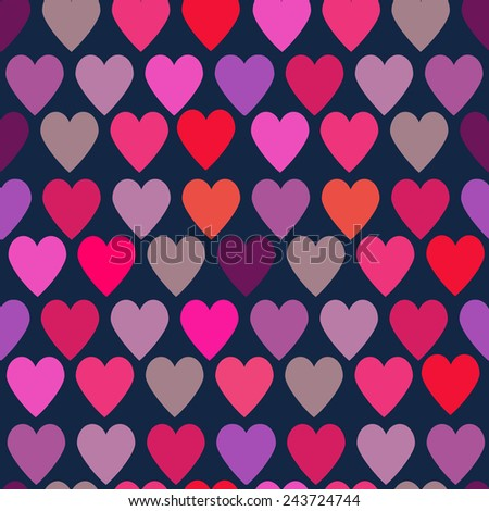 Seamless vintage love heart background in bright colors. Great for Valentine's Day announcement , Mother's Day, wedding, scrapbook, gift wrapping paper, textiles. - stock vector