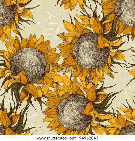 seamless vintage ornament with sunflowers - stock vector