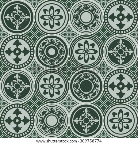 Seamless vintage ornate circles vector pattern.  - stock vector