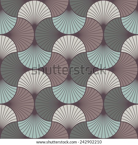 seamless vintage pattern of overlapping arcs in art deco style. each color in separate layer, easy to change.  - stock vector