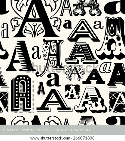 Seamless vintage pattern of the letter A - stock vector