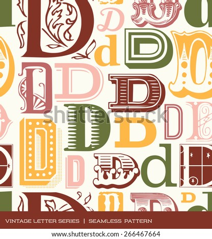 Seamless vintage pattern of the letter D in retro colors - stock vector