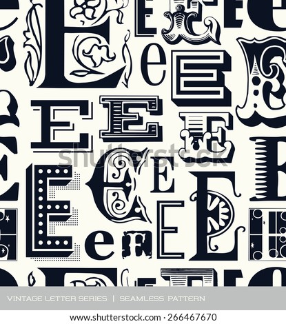 Seamless vintage pattern of the letter E - stock vector