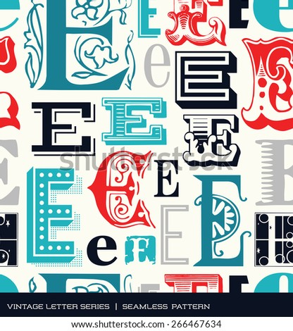 Seamless vintage pattern of the letter E in retro colors - stock vector