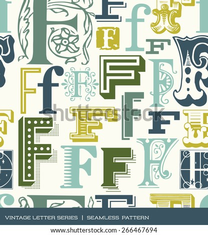 Seamless vintage pattern of the letter F in retro colors - stock vector