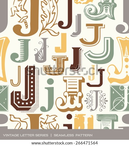 Seamless vintage pattern of the letter J in retro colors - stock vector