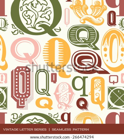Seamless vintage pattern of the letter Q in retro colors - stock vector
