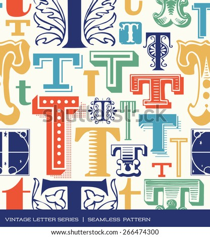 Seamless vintage pattern of the letter T in retro colors - stock vector