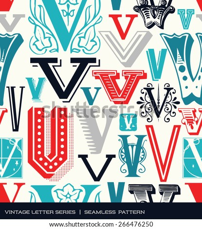 Seamless vintage pattern of the letter V  in retro colors - stock vector