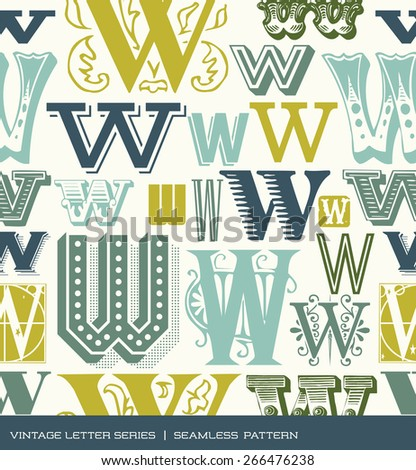 Seamless vintage pattern of the letter W in retro colors - stock vector