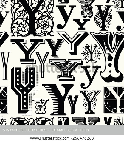 Seamless vintage pattern of the letter Y  - stock vector