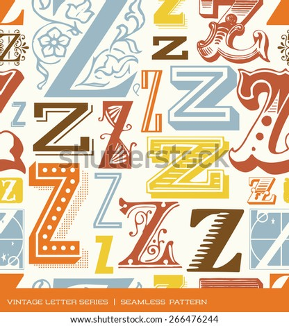 Seamless vintage pattern of the letter Z in retro colors - stock vector