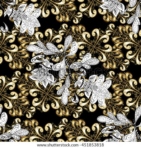 Seamless vintage pattern on black background with golden elements.