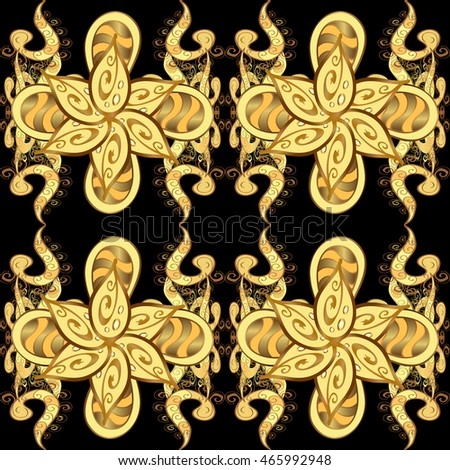 Seamless vintage pattern on black background with golden elements. Vector illustration.