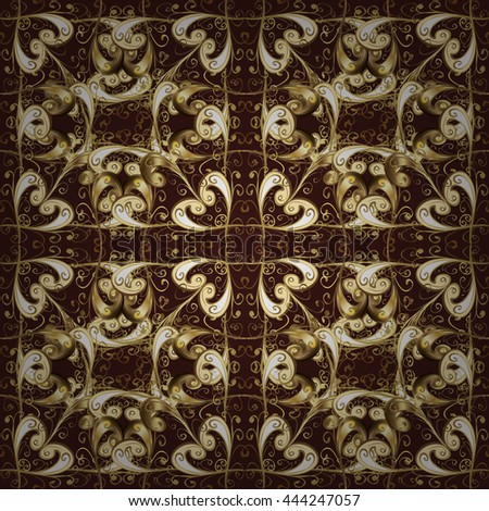 Seamless vintage pattern on dark background with golden elements.