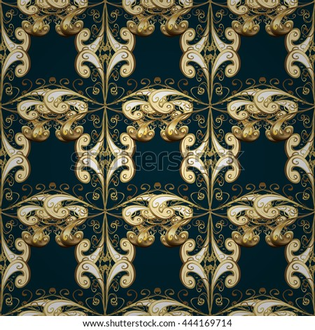 Seamless vintage pattern on dark black background with golden elements.