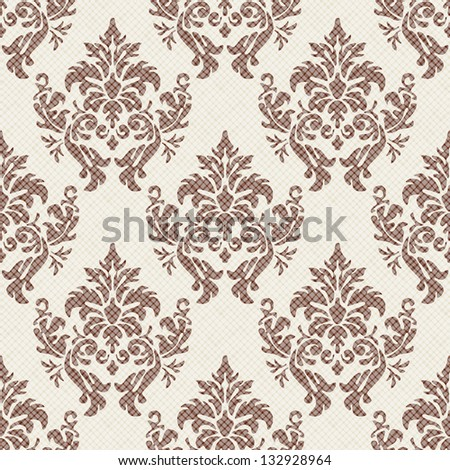 Seamless vintage pattern. Vector textured print. Damask tracery can be used for wallpaper, fabric, invitation in classical style - stock vector