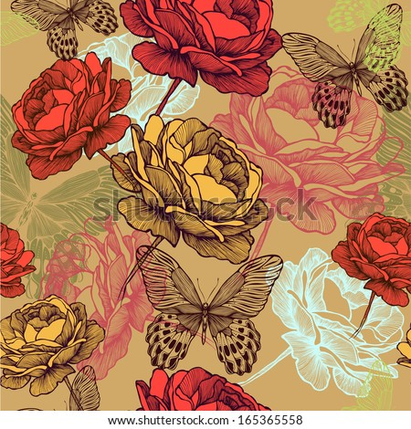 Seamless vintage pattern with blooming roses and colorful butterflies, hand-drawing. Vector illustration. - stock vector