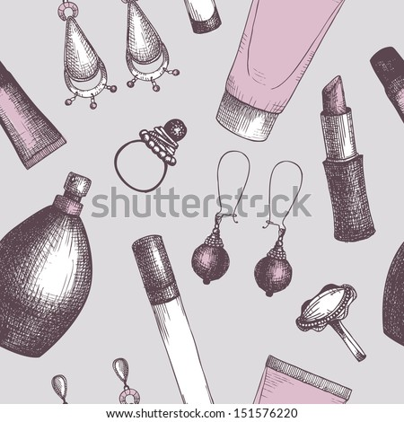 Seamless vintage pattern with graphic cosmetics and jewelry. Vector background with fashion elements. - stock vector