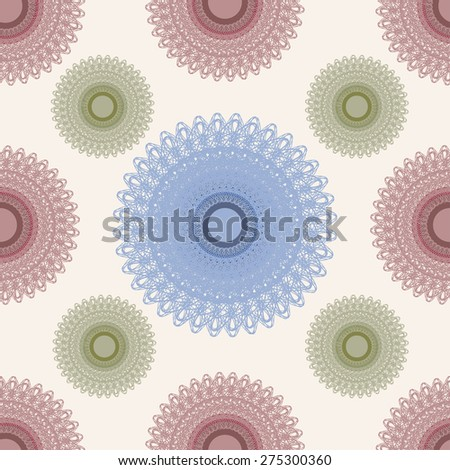 Seamless vintage pattern with round colorful ornament - stock vector