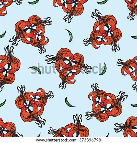 Seamless vintage patterns with flowers tiger lily. Vector illustration for design of textile, wallpaper, background, packaging, holidays - Mother`s day, women`s day, Easter, wedding - stock vector