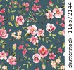 seamless vintage  pink flower pattern on brown background - stock