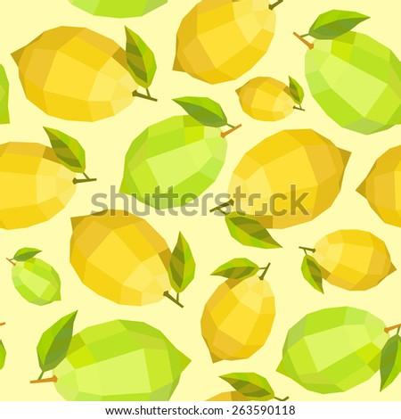 Seamless vintage polygon sunny lemon lime pattern - stock vector