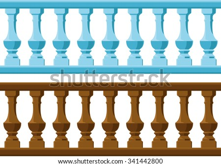 seamless vintage railing made of wood and stone or gypsum