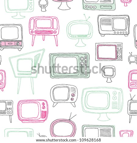 Seamless vintage retro old television background pattern in vector