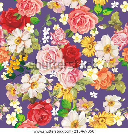Seamless vintage romantic pattern. Beautiful flower vector illustration texture - stock vector
